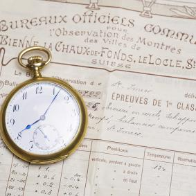 Commemorative BULLETIN DE MARCHE CHRONOMETER Gold Antique Pocket Watch