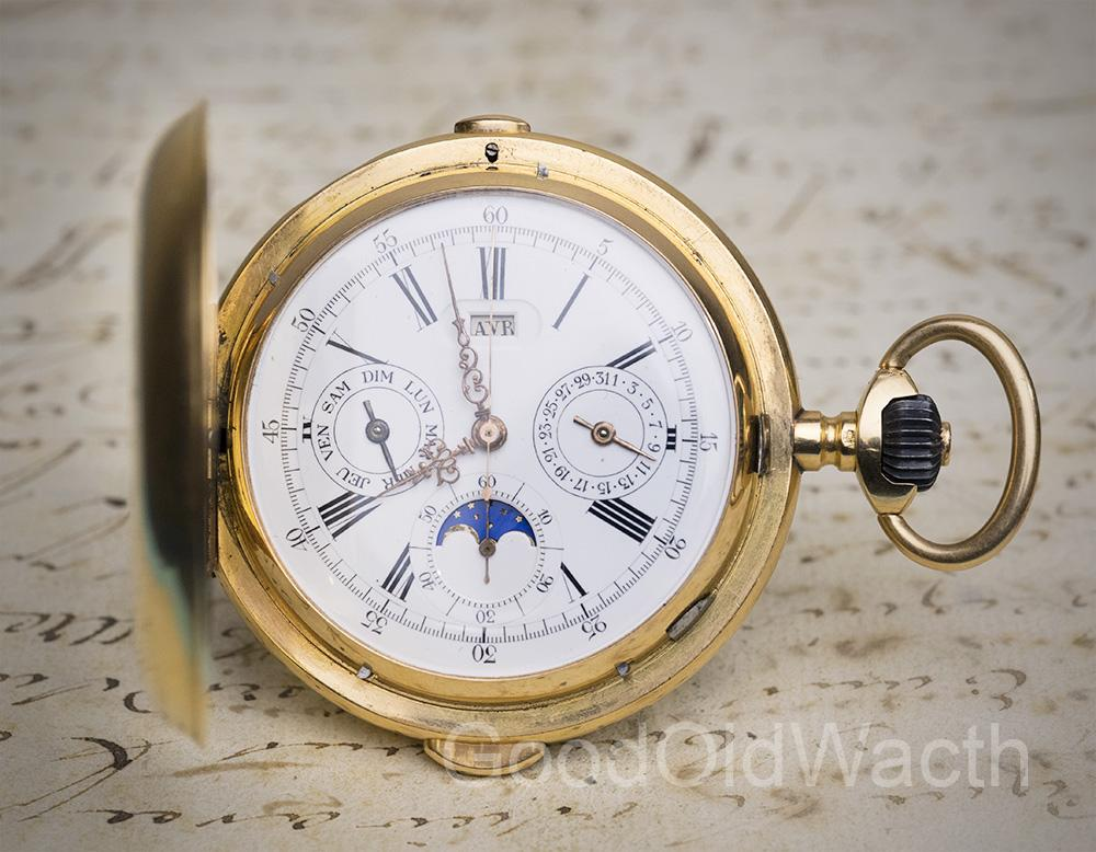 MINUTE REPEATER CHRONOGRAPH TRIPLE CALENDAR Antique Repeating Pocket Watch by PICARD / INVICTA