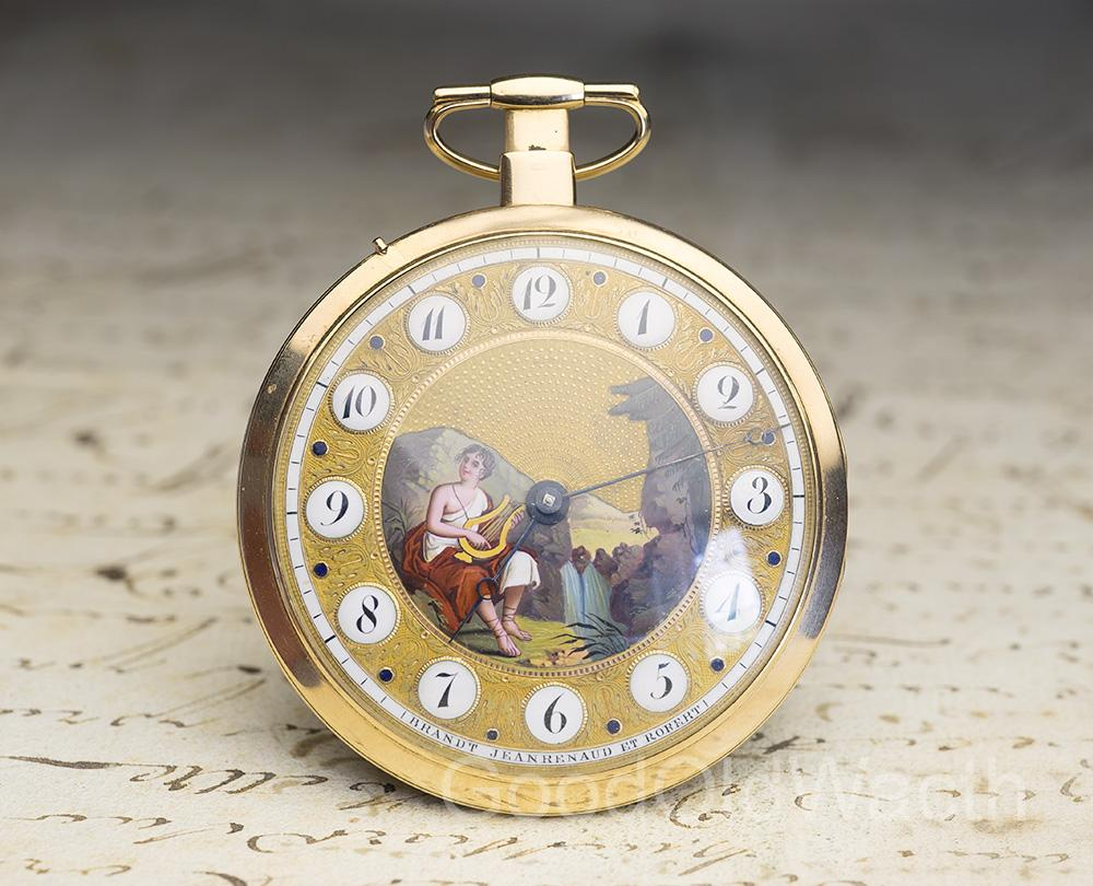 VISIBLE REPEATING TRAIN & ENAMEL MINIATURE Gold Antique Pocket Watch