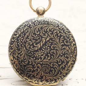 Antique French 18k GOLD & CHAMPLEVE ENAMEL FLAT / THIN Pocket Watch 1820 - 1830s