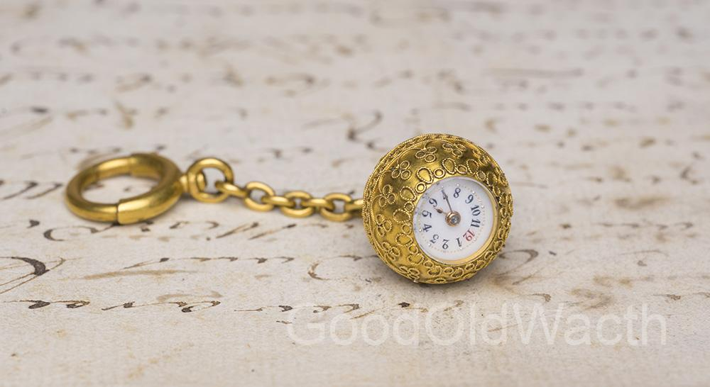 GENEVE BOULE - Miniature Antique Pocket Watch with Unusual Winding Mechanism