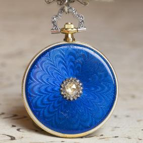 CARTIER - Extra Flat Gold Enamel & Diamonds Antique Pocket Watch