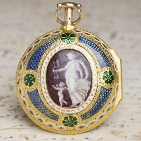 ENAMEL PAINTING British PAIR CASE REPEATER Verge Fusee Antique Repeating Pocket Watch