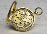 30mm MINIATURE Quarter REPEATER 18k GOLD Repeating Pocket Watch by Moulinier Geneve
