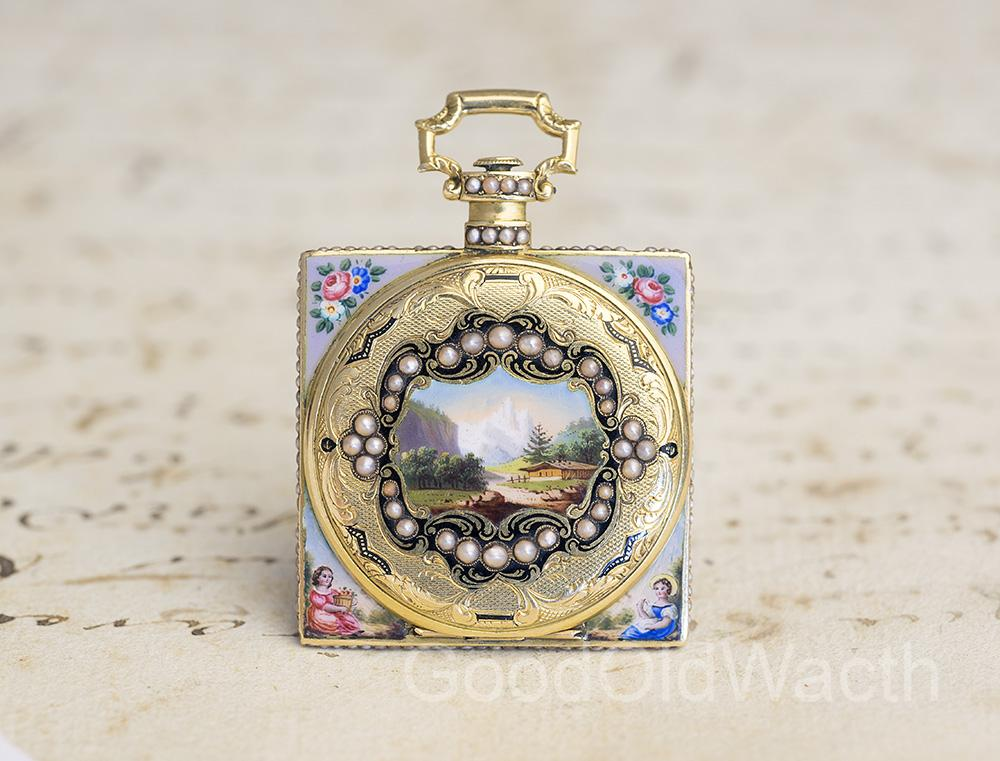 Gold Pearls & Enamel Square Shaped Pocket Watch in Chinese Taste