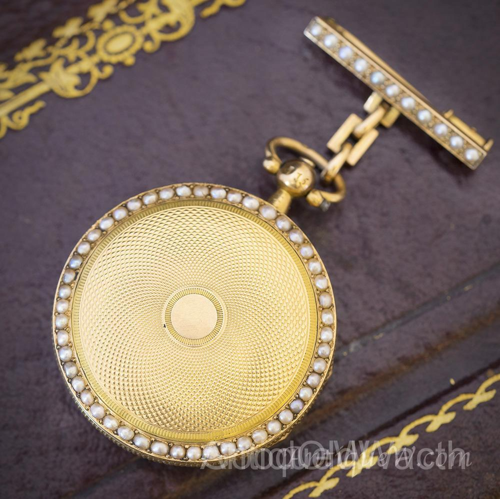 Antique early XIX French 18k Gold and Pearls Lady Watch with Brooch
