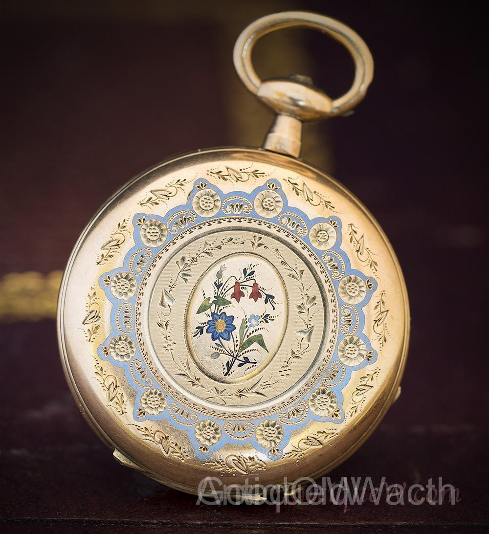 Beautiful French Solid 18k and Enamel Pocket/Pendant Lady Watch with Golden Key