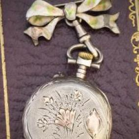 Nice Silver and Gold Pendant Lady Watch with Silver Enameled Brooch