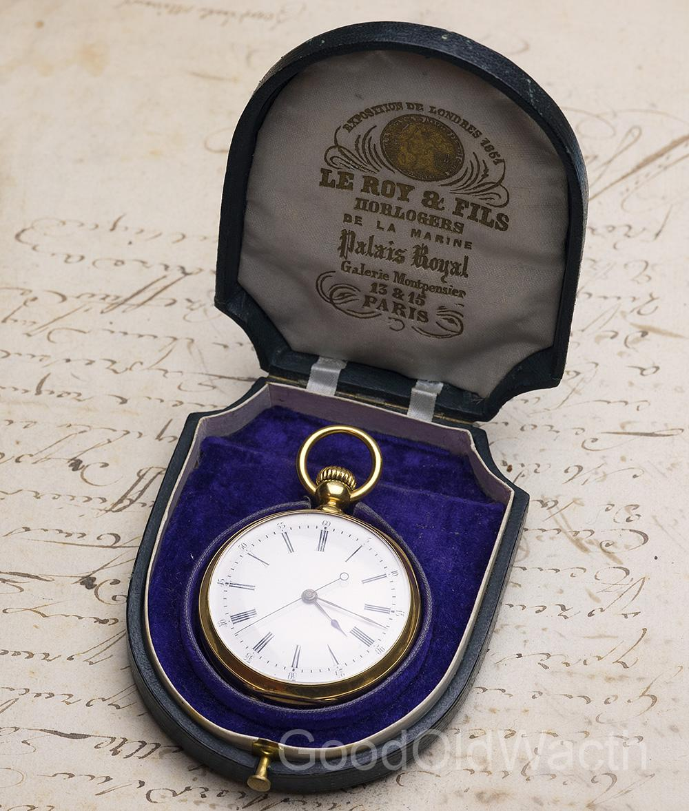 Independent Seconds 18k Gold Antique Pocket Watch by LEROY / LOUIS AUDEMARS