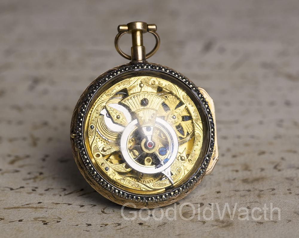 SKELETONIZED GOLD VERGE FUSEE Antique Pocket Watch