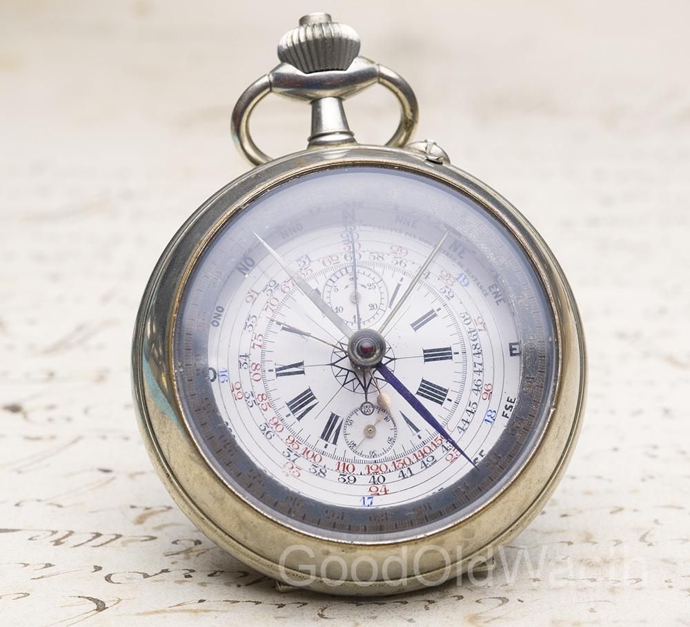 Rare Oversized COMPASS & CHRONOGRAPH pocket watch - patent by Captain Vincent