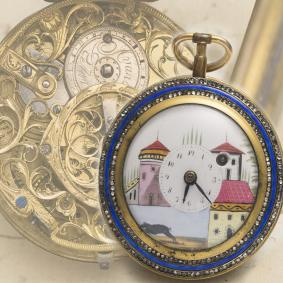 RARE Antique SKELETONIZED ENAMEL & PAINTED DIAL VERGE FUSEE Swiss Pocket Watch