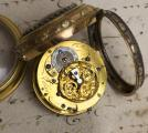 18k GOLD & PAINTED ENAMEL Verge Fusee Antique Pocket Watch Montre Coq +CHATELAIN