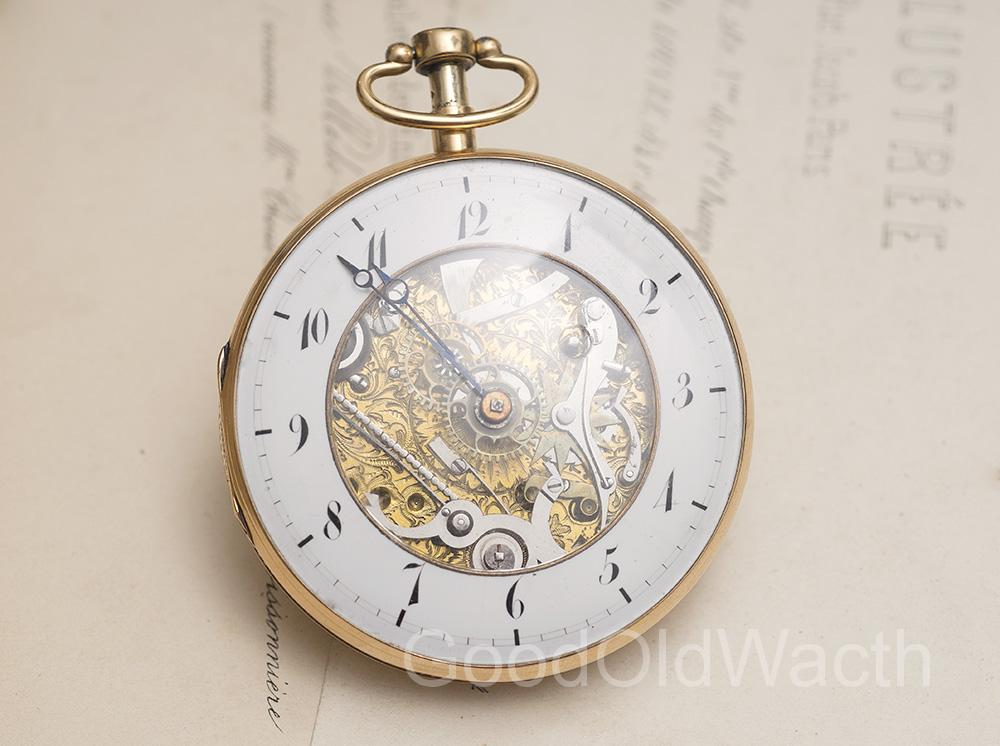 Antique Gold SKELETONIZED QUARTER REPEATER Repeating VERGE FUSEE POCKET WATCH