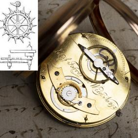 DOUBLE WHEEL DUPLEX Escapement Solid Gold Antique Pocket Watch