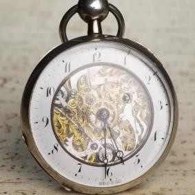 SKELETONIZED REPEATER Verge Fusee Antique Repeating Pocket Watch