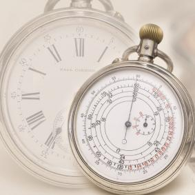 Antique RAILROAD Silver DOUBLE-SIDED POCKET CHRONOGRAPH WATCH by PAUL GARNIER