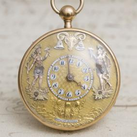 JAQUEMARTS AUTOMATON QUARTER REPEATER Repeating VERGE FUSEE Solid Gold Antique Pocket Watch