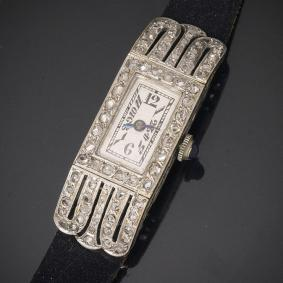 Antique White 18k Gold & Diamonds Lady Wrist Watch - French Art Deco 1920